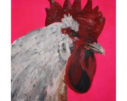 """Bild """"Der Hahn (auf neon-pink)"""""""