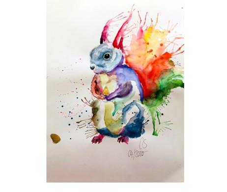 Das Eichhörnchen Aquarell