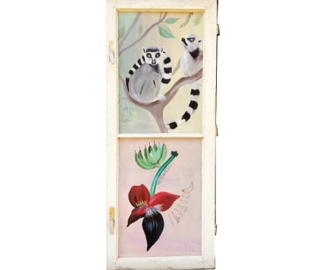 Fenster Lemuren und Bananenblüte